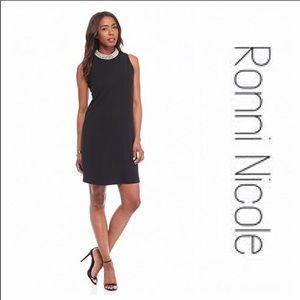 NWOT Ronni Nicole Black Jeweled Neckline Dress 8